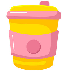 Reusable cup tumbler or mug with cover isolated vector