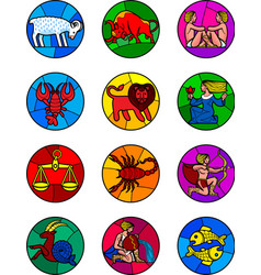 round icon set of colorful zodiac symbols vector image