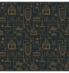 Seamless background with beer brewing process vector