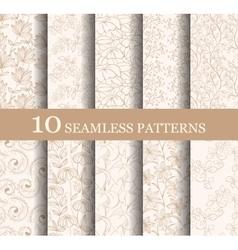 set 10 seamless flower patterns vector image