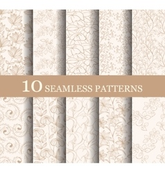 Set of 10 seamless flower patterns vector image vector image