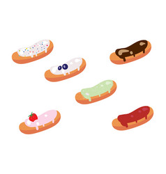 Set of appetizing glazed eclairs vector