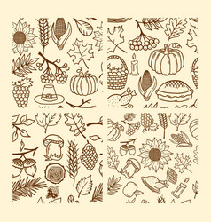 set of seamless patterns of autumn elements vector image