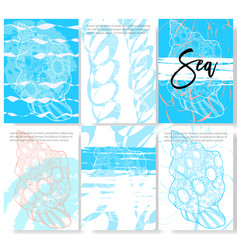 Set of trendy stylish templates on sea theme vector
