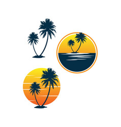 set sunset palm coconut tree beach logo vector image