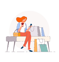 shopping break isolated buyer woman vector image