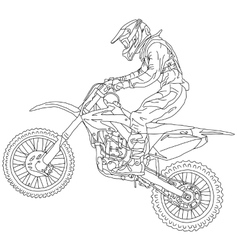 Silhouettes Motocross rider on a motorcycle vector