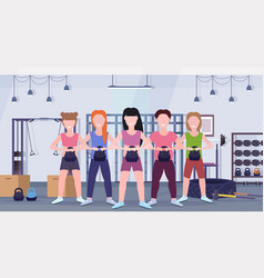 sports people group doing exercises vector image