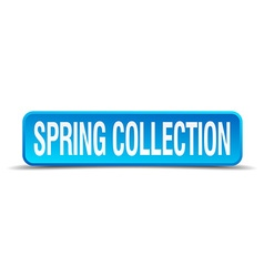 Spring collection blue 3d realistic square vector image