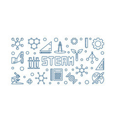 Steam concept blue linear banner or vector