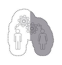 Sticker silhouette of man and woman with thought vector