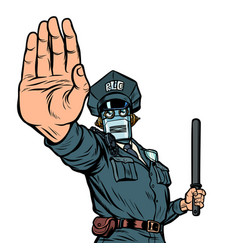 stop hand gesture robot policeman isolate on vector image
