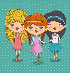 Stylish teenager girls vector