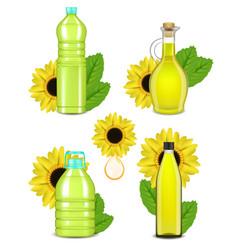 sunflower oil bottle set realistic vector image