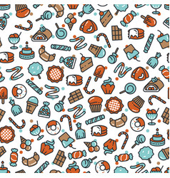 Sweet desserts candies bakery cakes seamless vector