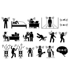 Tinnitus ear ringing noise in people icons a vector