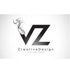 Vz letter logo design with black smoke vector