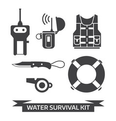 Water emergency surival kit icons vector