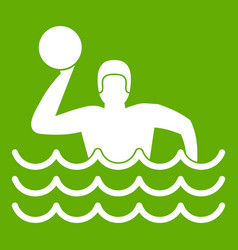 Water polo icon green vector
