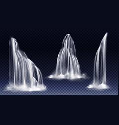 Waterfall cascade realistic water fall streams set vector