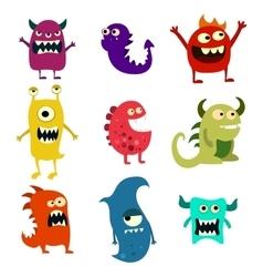 Doodle monsters set Colorful toy cute alien vector image