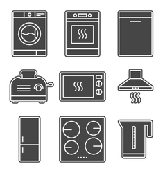 Kitchen appliance gray solid icons vector image