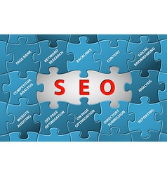 SEO puzzle background vector image