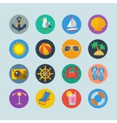 Summer sea holidays icons vector image vector image