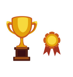 trophy champion cup flat icon winner award vector image
