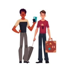 Two young men one with suitcases another holding vector image vector image