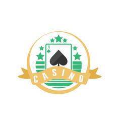 casino or poker club logo vintage gambling badge vector image vector image