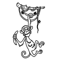 cute baby monkey hanging on tree vector image