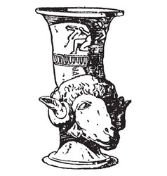 greek vase is a drinking horn often shaped vector image