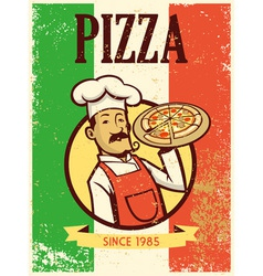 retro style chef presenting a plate of pizza vector image vector image