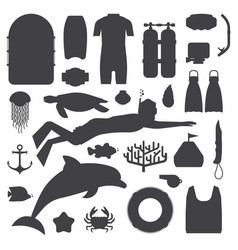 skin diving and snorkeling silhouette set vector image vector image