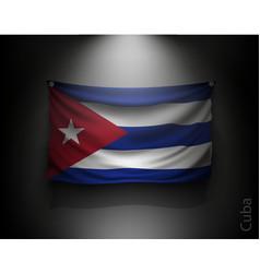 waving flag cuba on a dark wall vector image