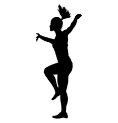 Black silhouettes dancing on white background vector