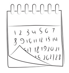 cartoon image of calendar icon calendar symbol vector image vector image