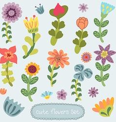 Cute vintage hand drawn flowers set vector image