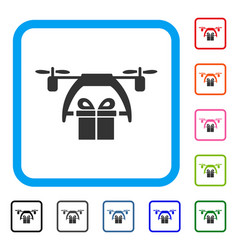 gift drone delivery framed icon vector image vector image