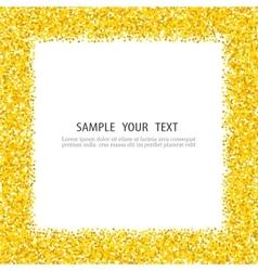 Gold glitter background frame sparkles on white vector image