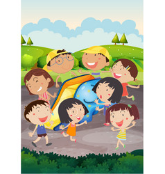 happy children playing slide in park vector image vector image