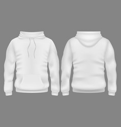 men white blank hoodie in front and back view vector image