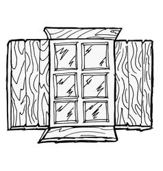 Old wooden window vector image vector image