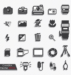 Photography camera lens icons set vector image vector image