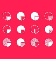 pie chart diagram icons collection vector image