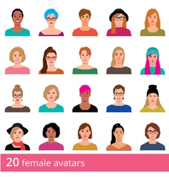 Set of avatars attractive woman on a white vector image