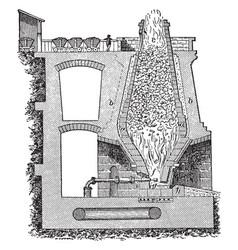 smelting furnace with fire burning vintage vector image