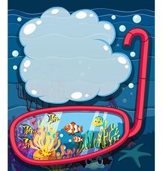 Underwater scene with sea animals vector image vector image