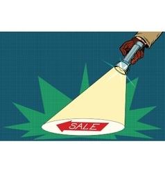 Detective flashlight beam shines on sale vector image